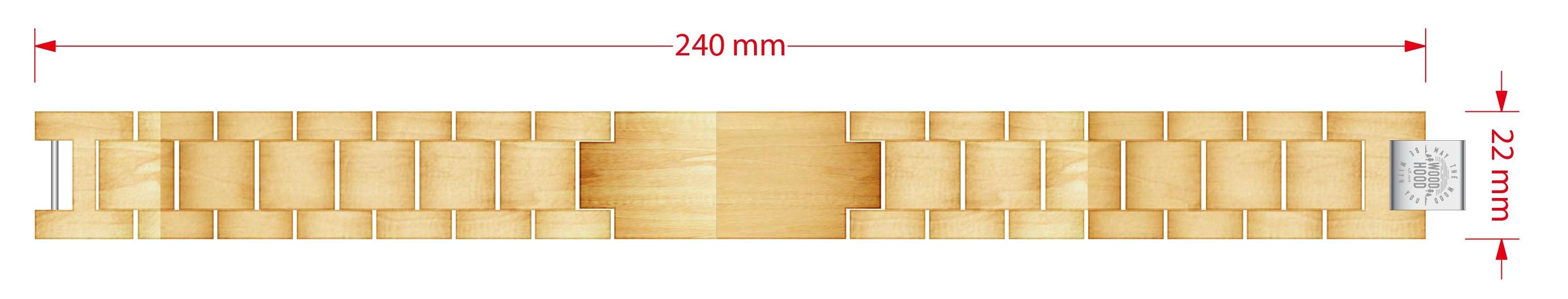 Dřevěný náramek Maple Bracelet - rozměr