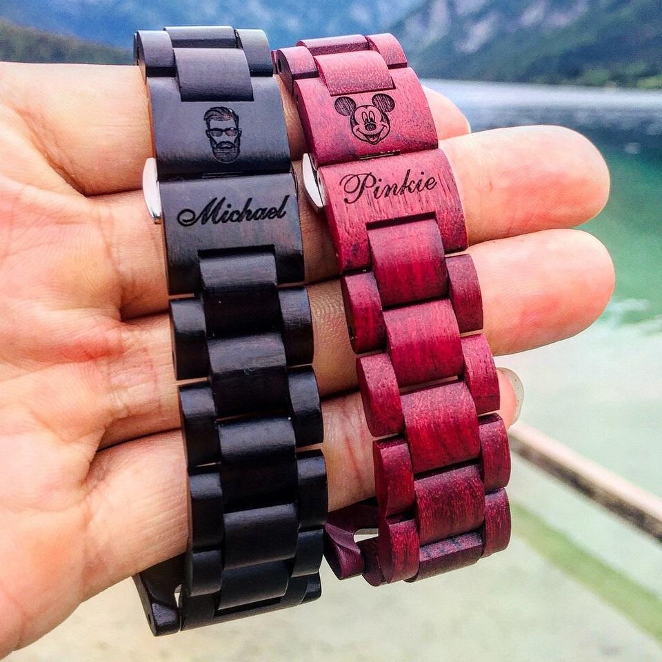 Blackwood a Pinkness dřevěné hodinky s vlastním gravírováním
