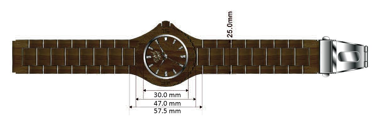Dřevěné hodinky Darkness, rozměry.