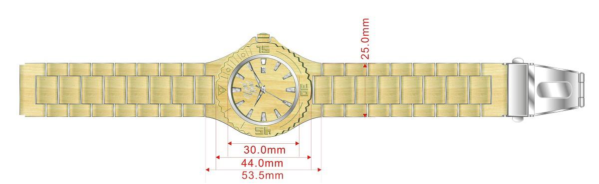 Dřevěné hodinky Jungle, rozměry.