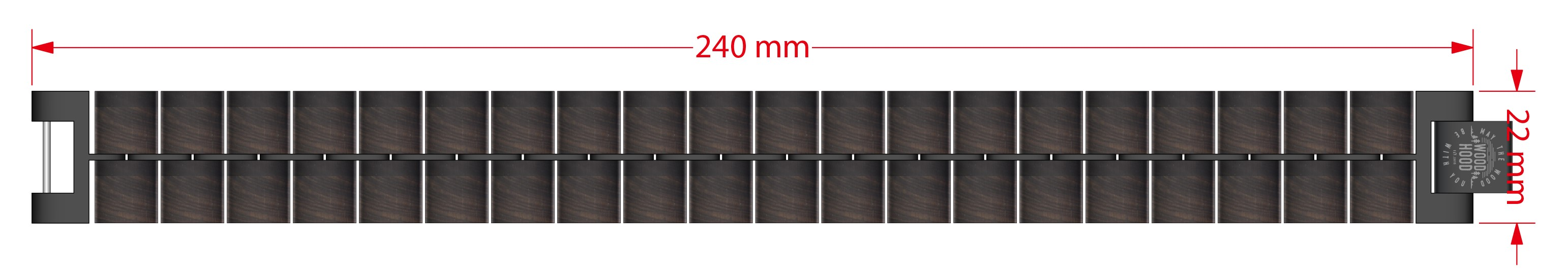 Dřevěný náramek Davy Bracelet - rozměry