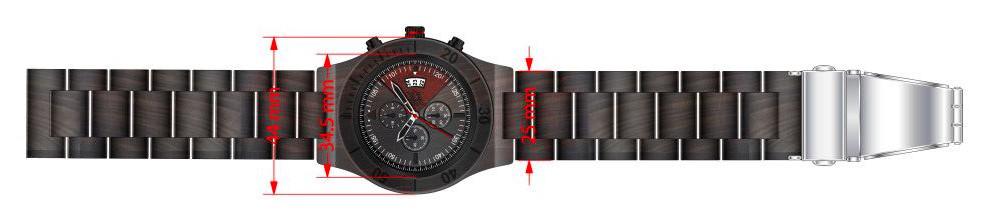 Dřevěné hodinky Acme Chrono, rozměry.
