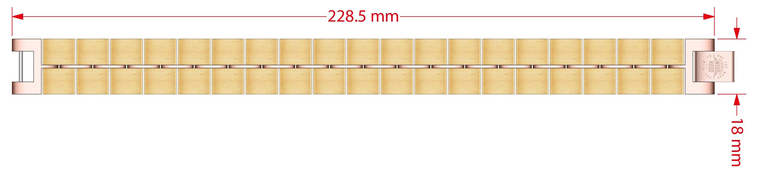 Dřevěný náramek Alice Bracelet, rozměry.