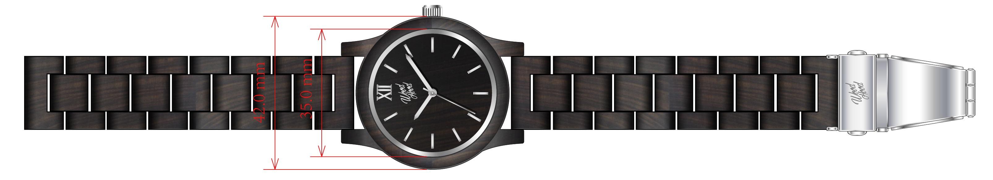 Dřevěné hodinky Dark Chocolate, rozměry.