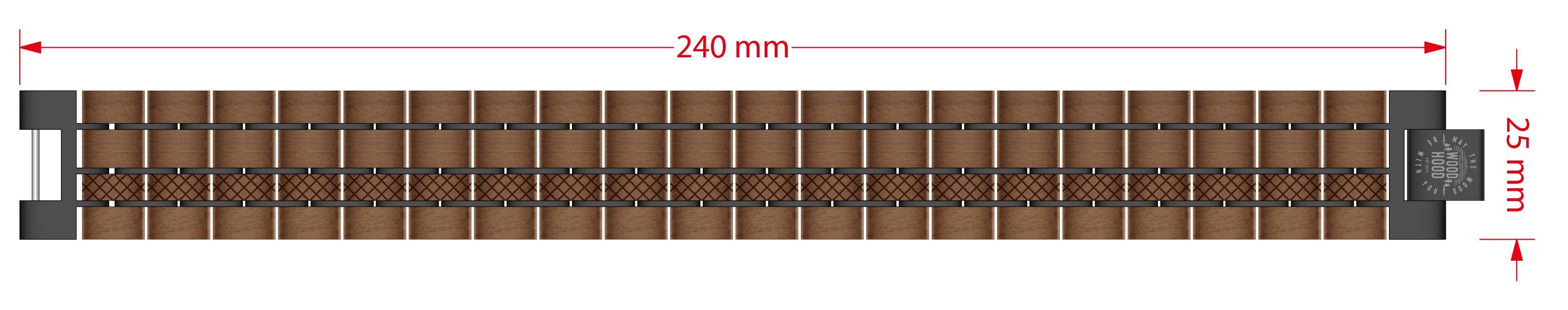 Dřevěný náramek Walnut Bracelet - rozměry