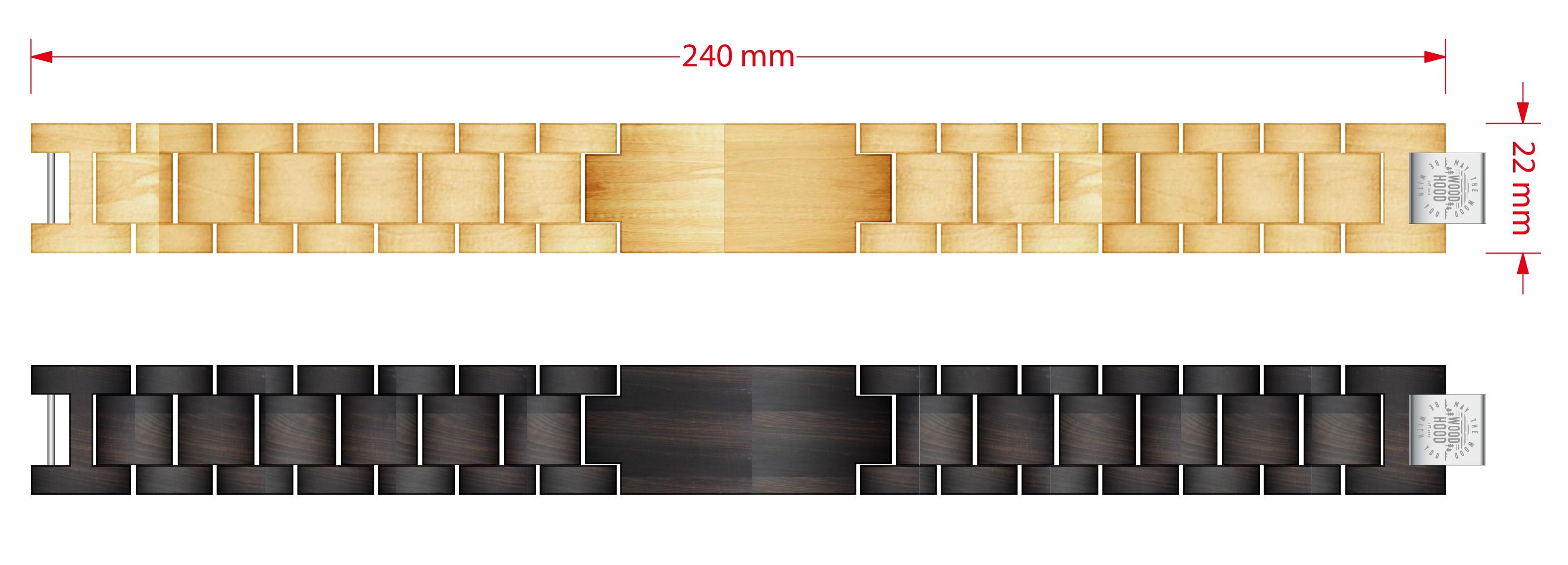 Dřevěný náramek Dark Bracelet, rozměry.