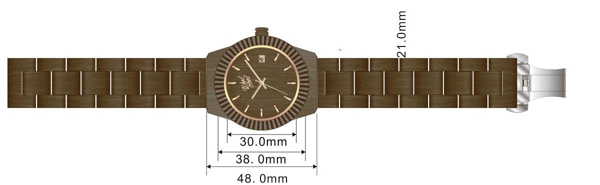 Dřevěné hodinky Brownies, rozměry.