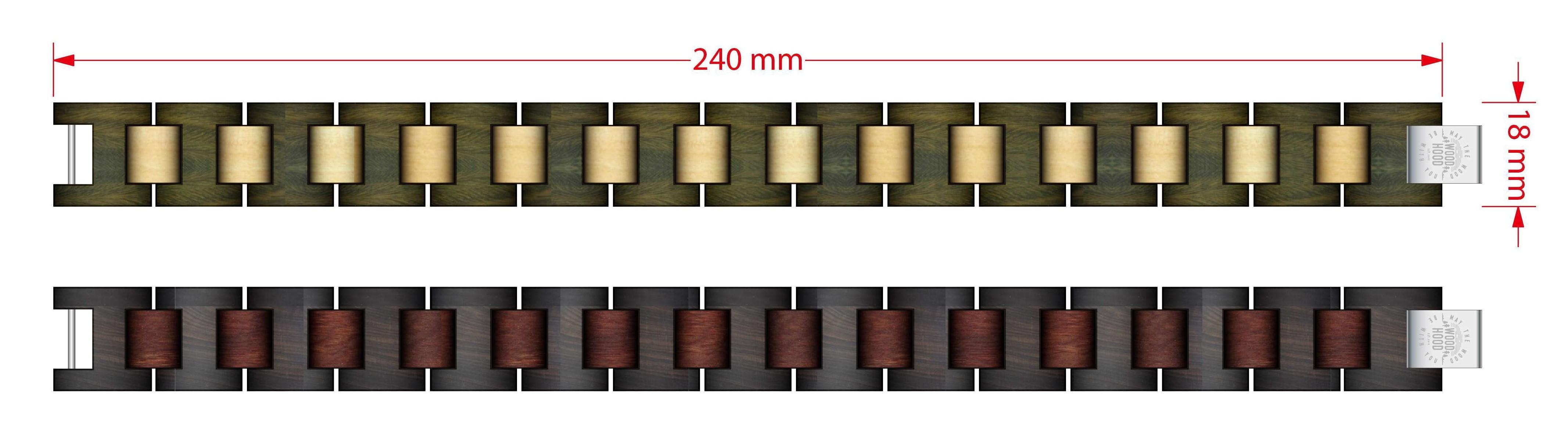 Dřevěný náramek Maple Green Bracelet - rozměry