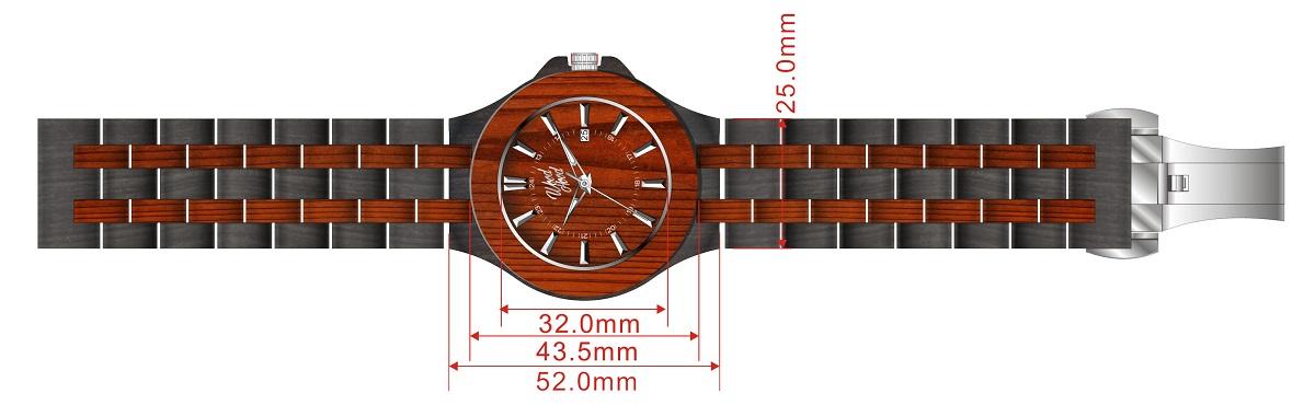 Dřevěné hodinky Chilli, rozměry.