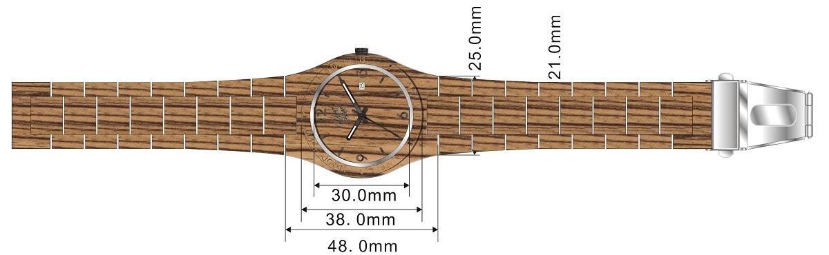 Dřevěné hodinky TigerHood, rozměry.
