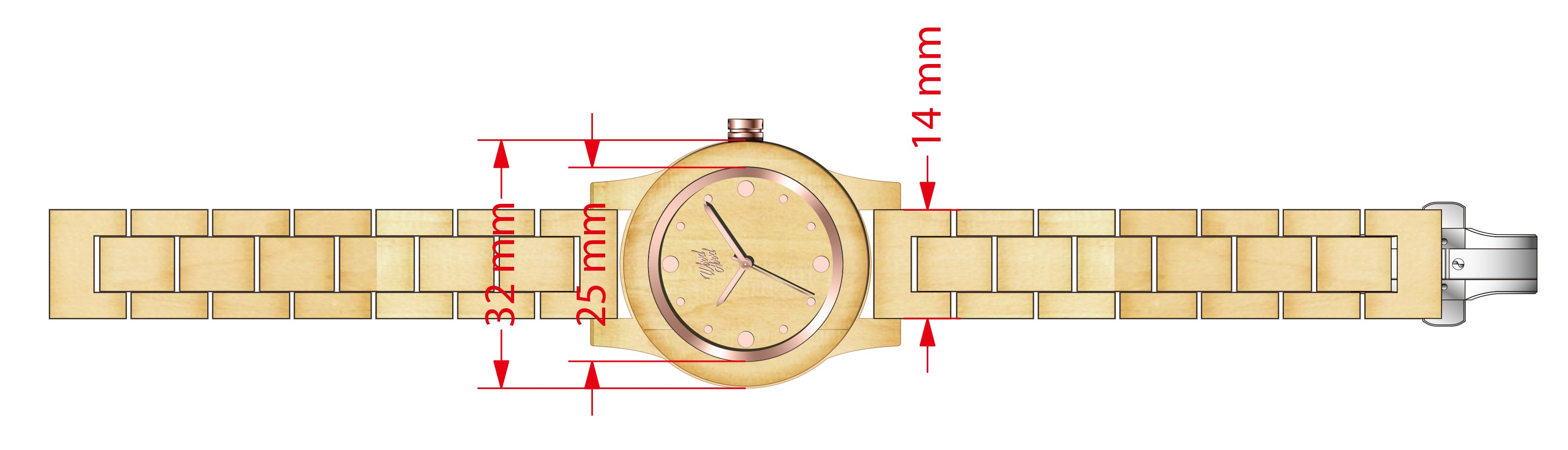 Dřevěné hodinky Mapley, rozměry.