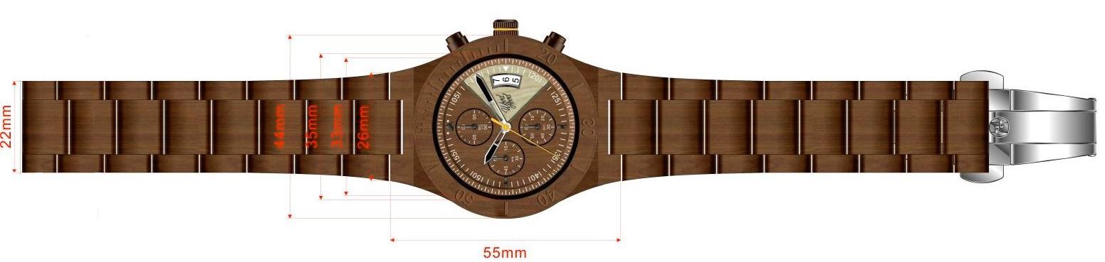 Dřevěné hodinky Honey Chrono, rozměry.
