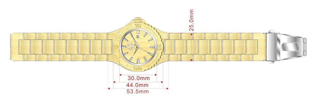 Dřevěné hodinky Marilyn, rozměry.